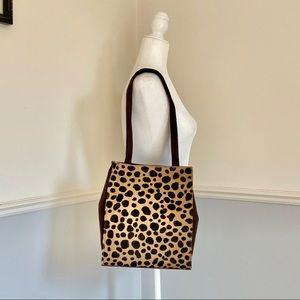 leopard print brown suede tote.